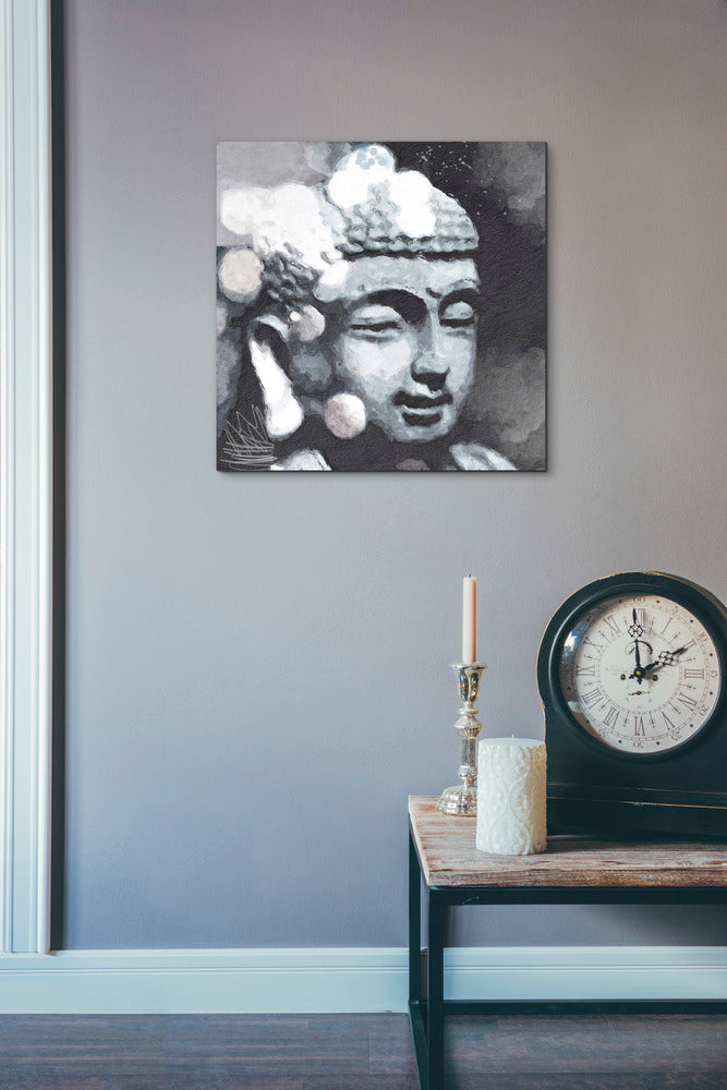 "Epic Graffiti ""Peaceful Buddha III"" by Linda Woods, Giclee Canvas Wall Art, 18""x18"""