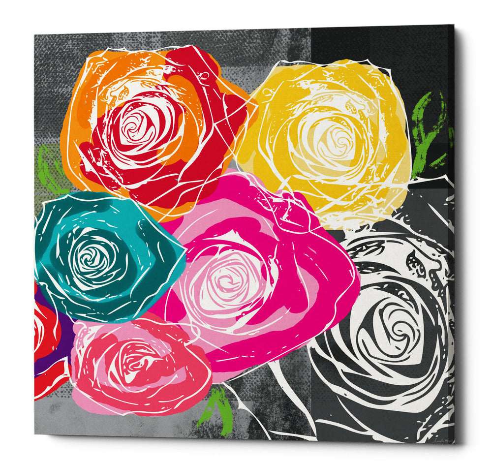 "Epic Graffiti ""Colorful Roses II"" by Linda Woods, Giclee Canvas Wall Art, 18""x18"""