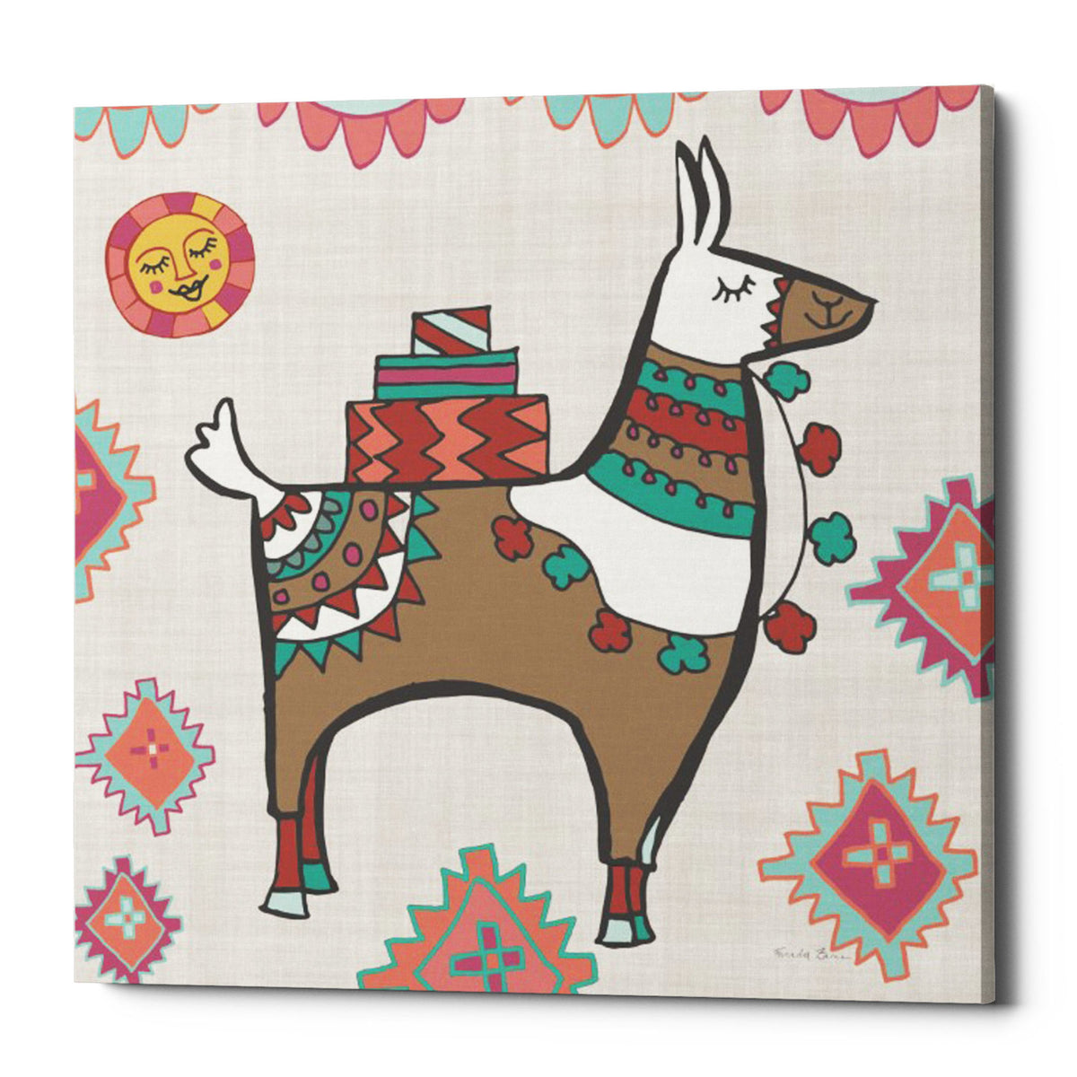 "Epic Graffiti ""Playful Llamas I"" by Farida Zaman, Giclee Canvas Wall Art, 18""x18"""