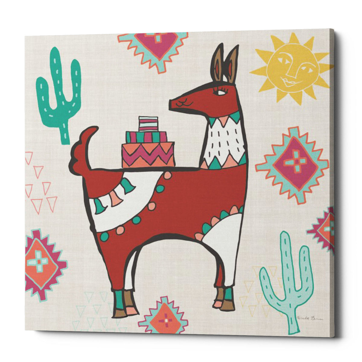 "Epic Graffiti ""Playful Llamas IV"" by Farida Zaman, Giclee Canvas Wall Art, 18""x18"""