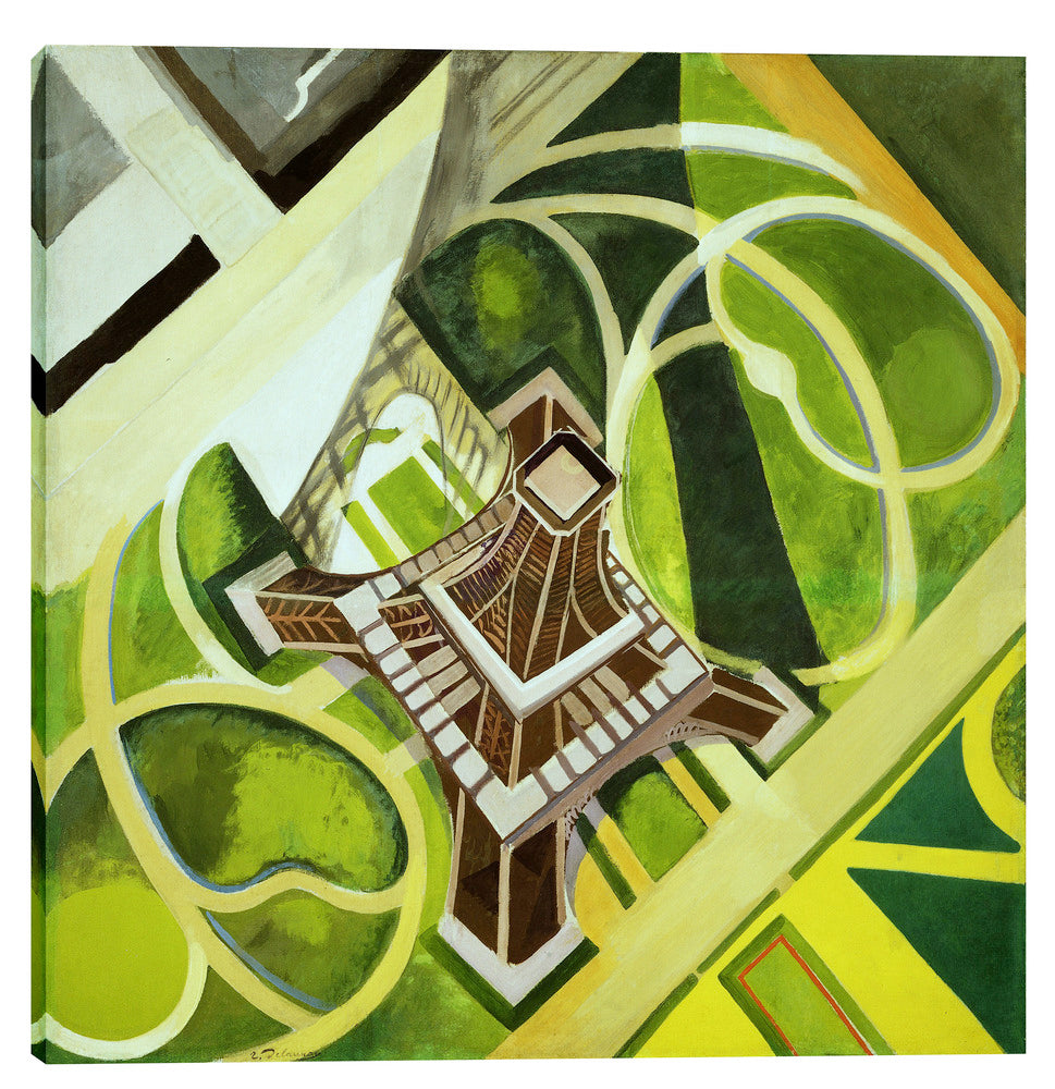 "Epic Graffiti ""La Tour Eiffel et Jardin du Champ de Mars"" by Robert Delaunay Giclee Canvas Wall Art, 18"" x 18"""