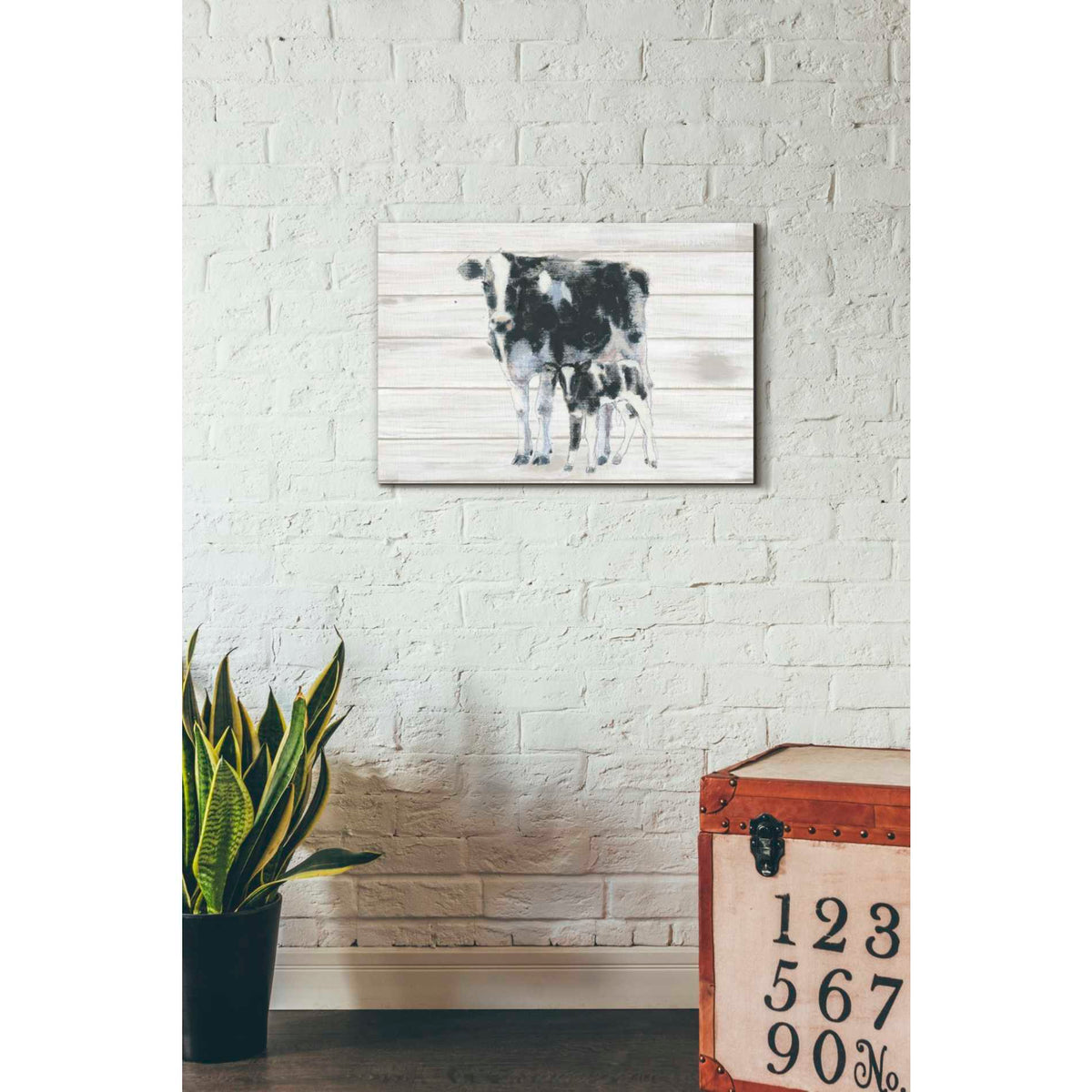 Epic Graffiti 'Cow and Calf on Wood' by Emily Adams, Giclee Canvas Wall Art
