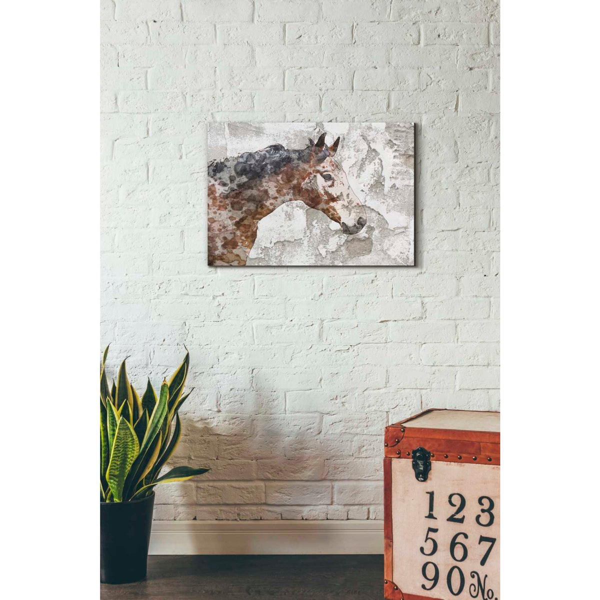 Epic Graffiti 'Rustic Brown Horse' by Irena Orlov, Giclee Canvas Wall Art