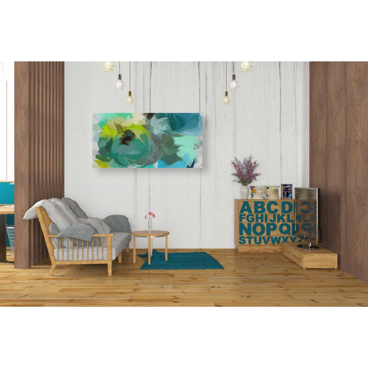 Epic Graffiti 'The Shades of Green Abstract 2' by Irena Orlov, Giclee Canvas Wall Art