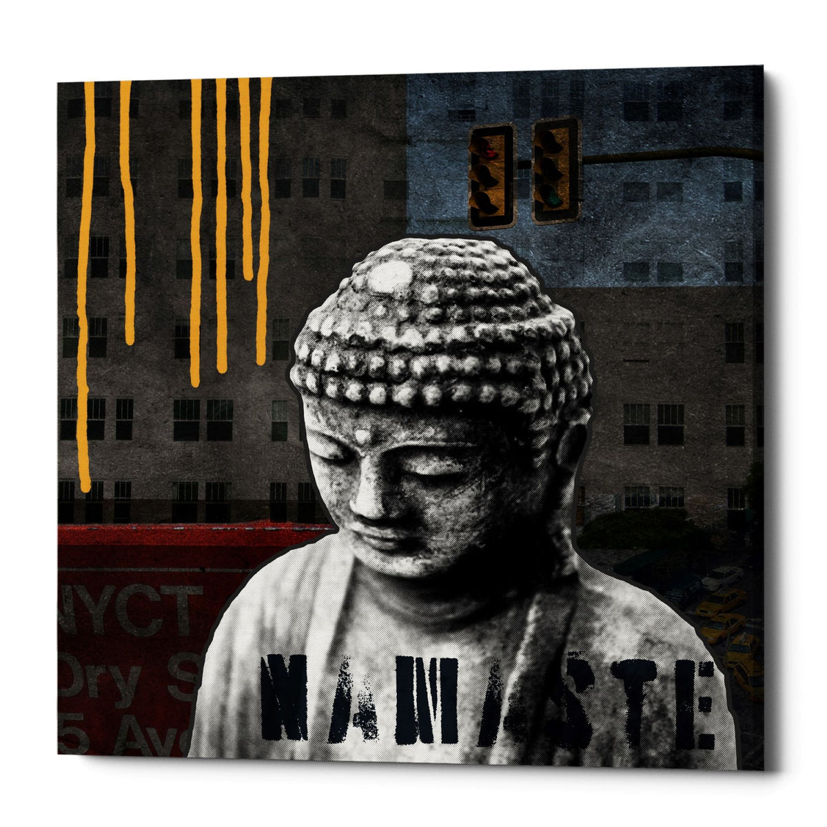 "Epic Graffiti ""Urban Buddha III"" by Linda Woods, Giclee Canvas Wall Art, 26""x26"""
