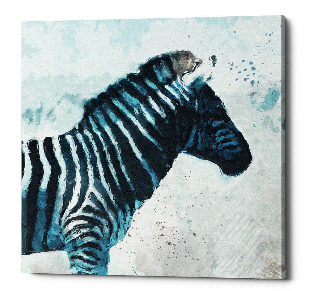 "Epic Graffiti ""Zebra"" by Linda Woods, Giclee Canvas Wall Art, 26""x26"""