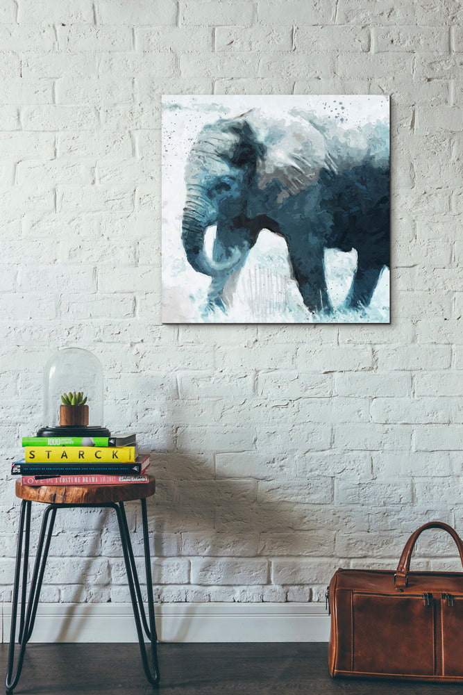 "Epic Graffiti ""Elephant"" by Linda Woods, Giclee Canvas Wall Art, 26""x26"""