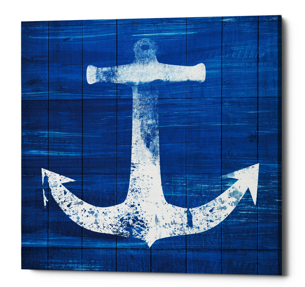"Epic Graffiti ""Blue and White Anchor"" by Linda Woods, Giclee Canvas Wall Art, 26""x26"""