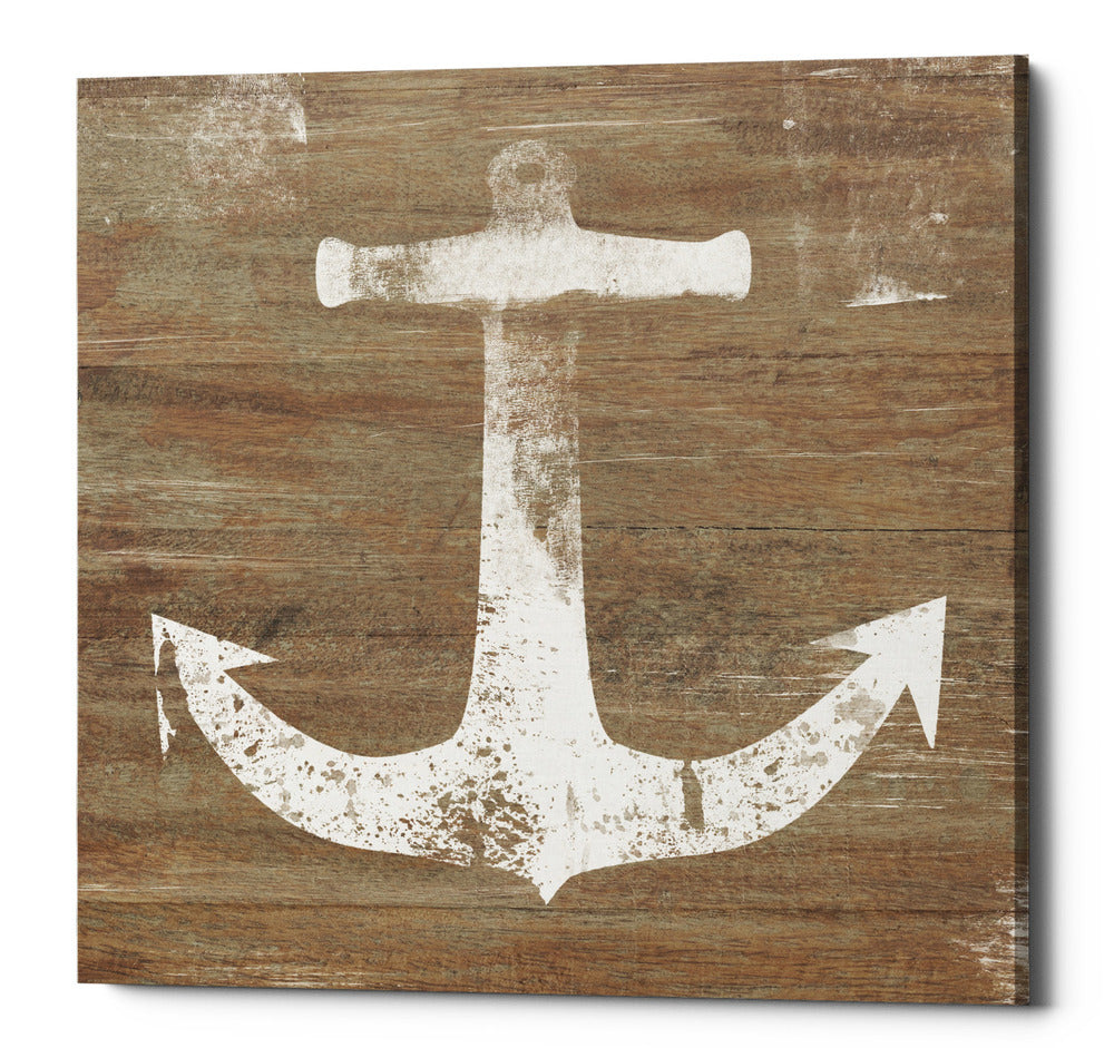 "Epic Graffiti ""White Anchor on Natural"" by Linda Woods, Giclee Canvas Wall Art, 26""x26"""