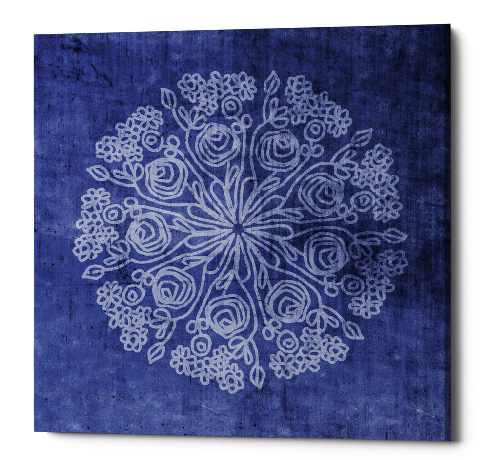 "Epic Graffiti ""Indigo Mandala 2"" by Linda Woods, Giclee Canvas Wall Art, 26""x26"""