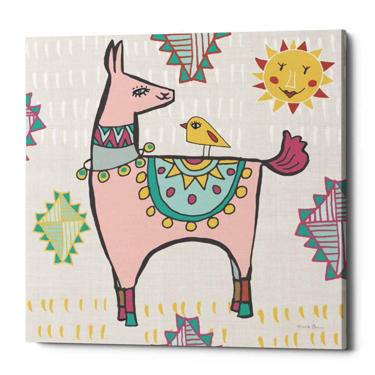 "Epic Graffiti ""Playful Llamas III"" by Farida Zaman, Giclee Canvas Wall Art, 26""x26"""