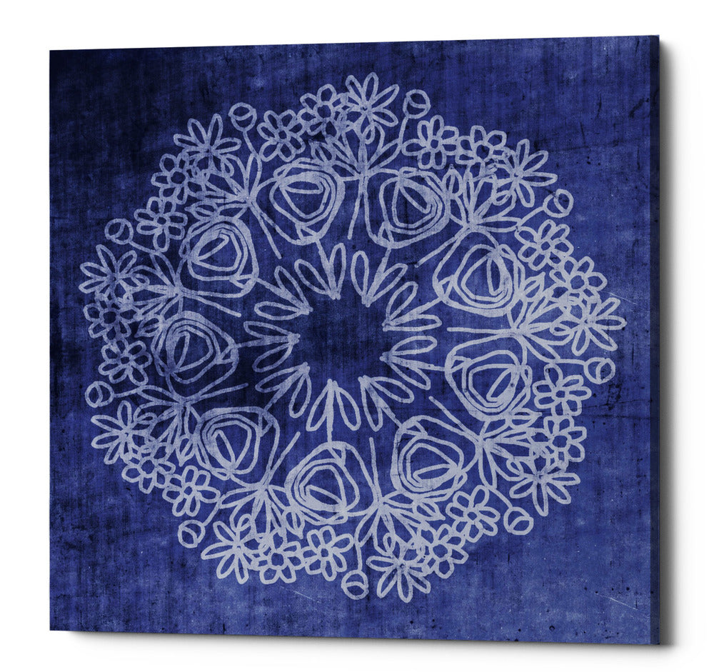 "Epic Graffiti ""Indigo Mandala"" by Linda Woods, Giclee Canvas Wall Art, 26""x26"""