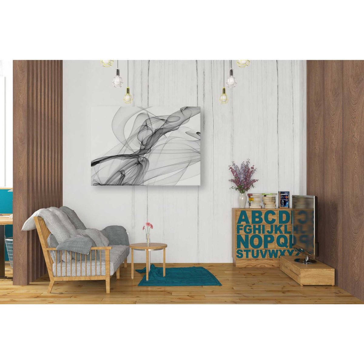 Epic Graffiti 'Abstract Black and White 18-21' by Irena Orlov, Giclee Canvas Wall Art