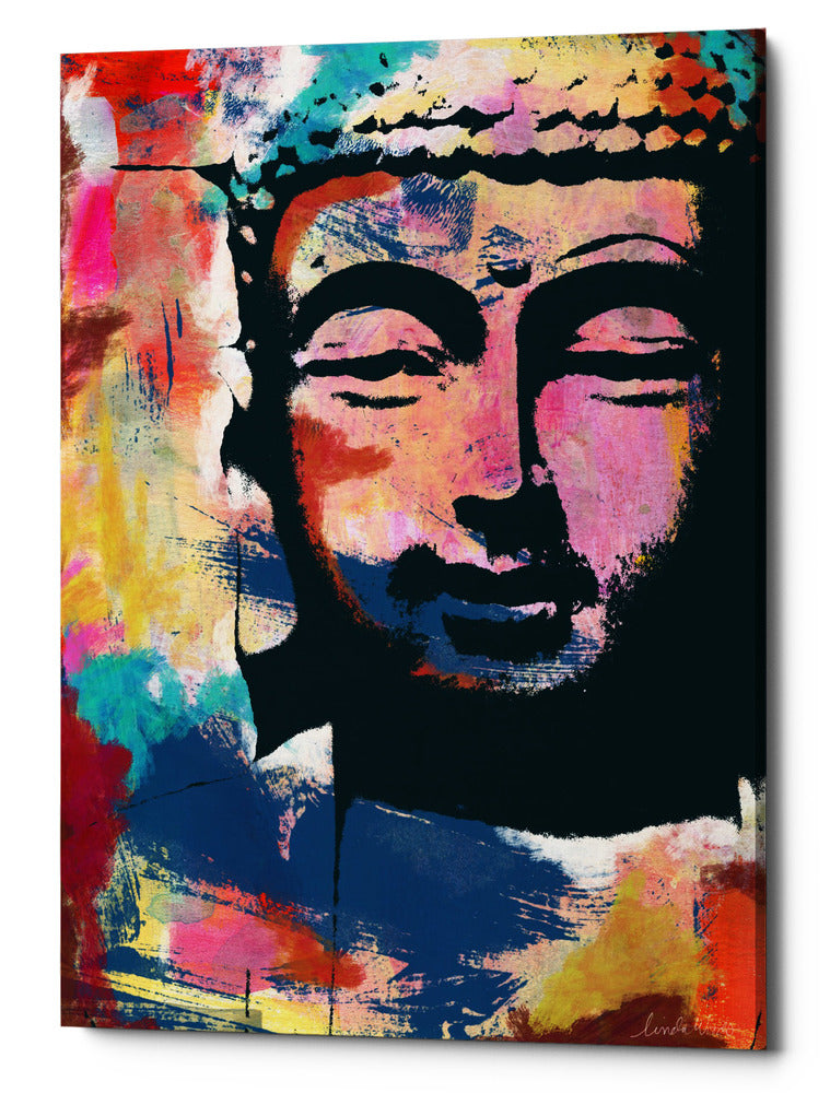"Epic Graffiti ""Painted Buddha II"" by Linda Woods, Giclee Canvas Wall Art, 26""x40"""