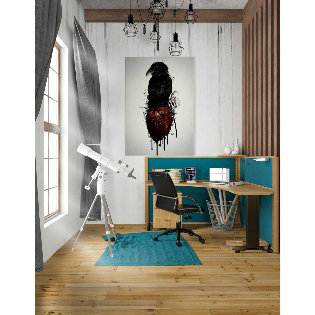 Cortesi Home 'Raven and Heart Grenade' by Nicklas Gustafsson, Canvas Wall Art,26 x 40
