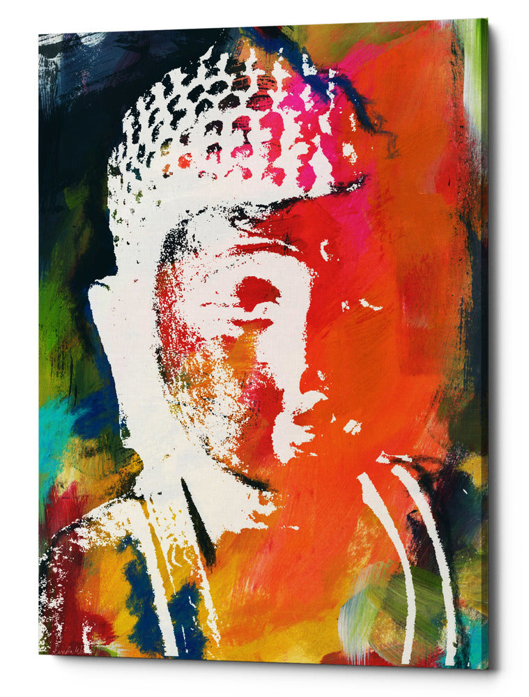 "Epic Graffiti ""Painted Buddha V"" by Linda Woods, Giclee Canvas Wall Art, 26""x40"""