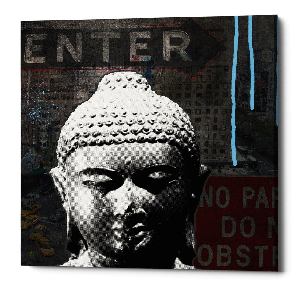 "Epic Graffiti ""Urban Buddha IV"" by Linda Woods, Giclee Canvas Wall Art, 37""x37"""