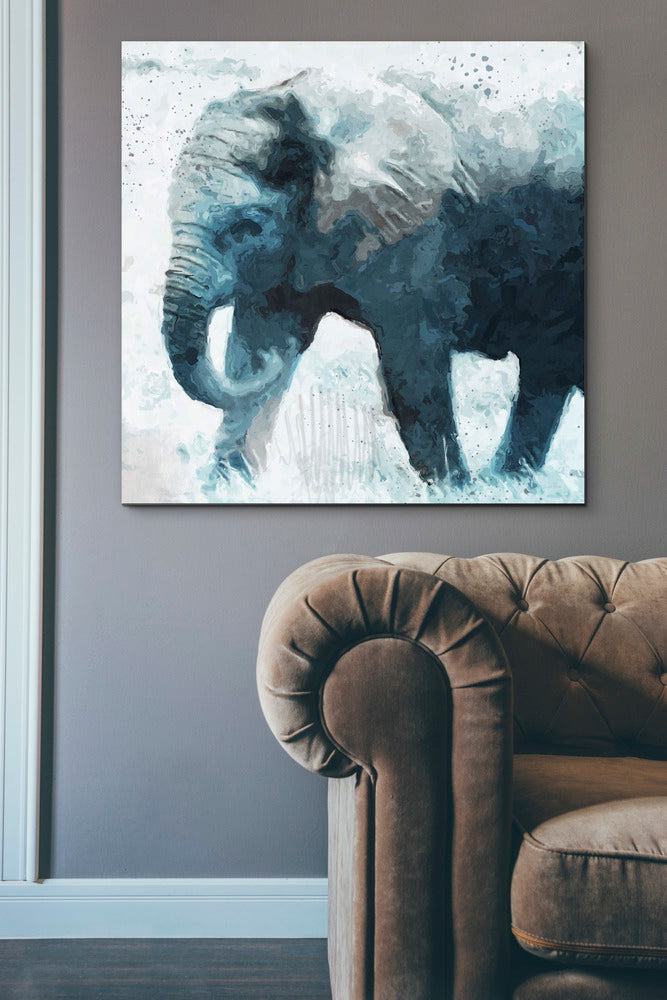 "Epic Graffiti ""Elephant"" by Linda Woods, Giclee Canvas Wall Art, 37""x37"""