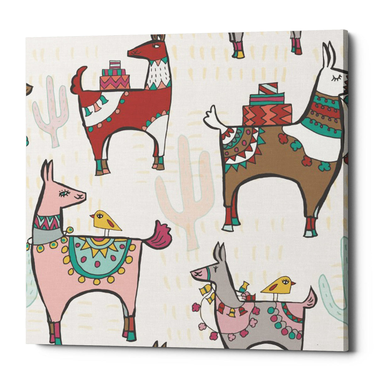 "Epic Graffiti ""Playful Llamas Pattern II"" by Farida Zaman, Giclee Canvas Wall Art, 37""x37"""