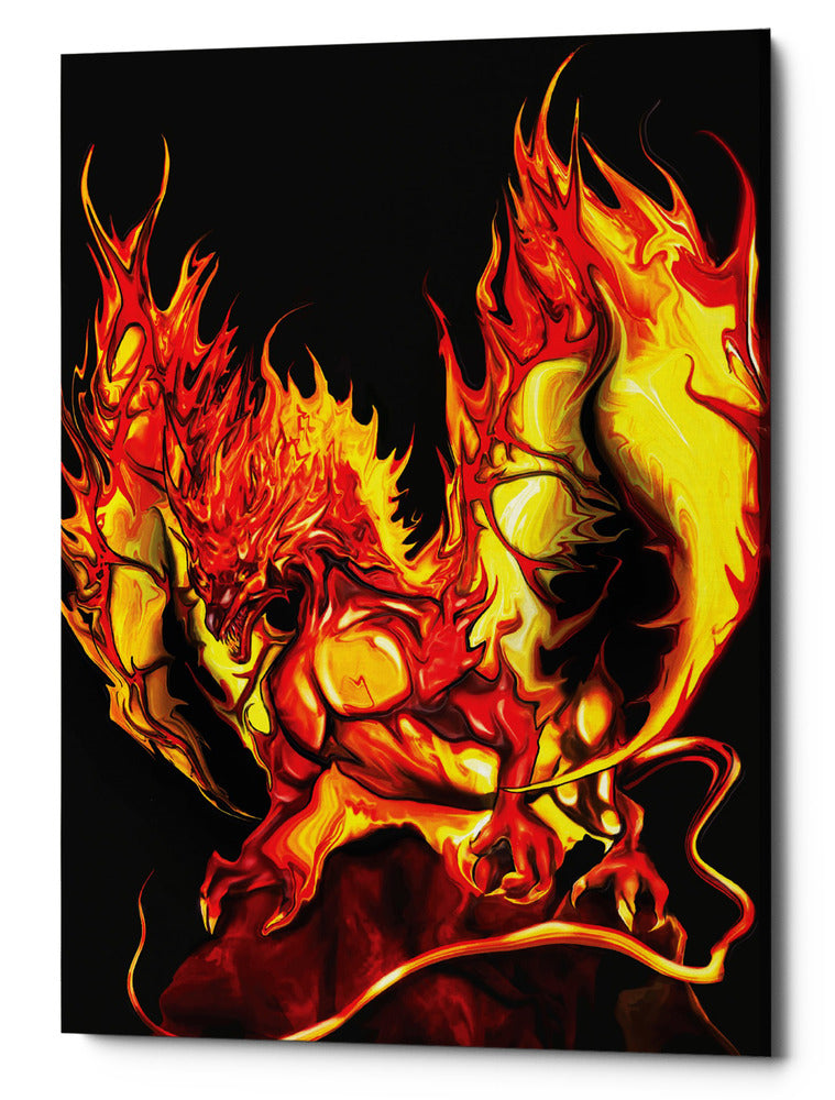 "Epic Graffiti ""Dragon Fire"" by Michael Stewart, Giclee Canvas Wall Art, 40""x54"""
