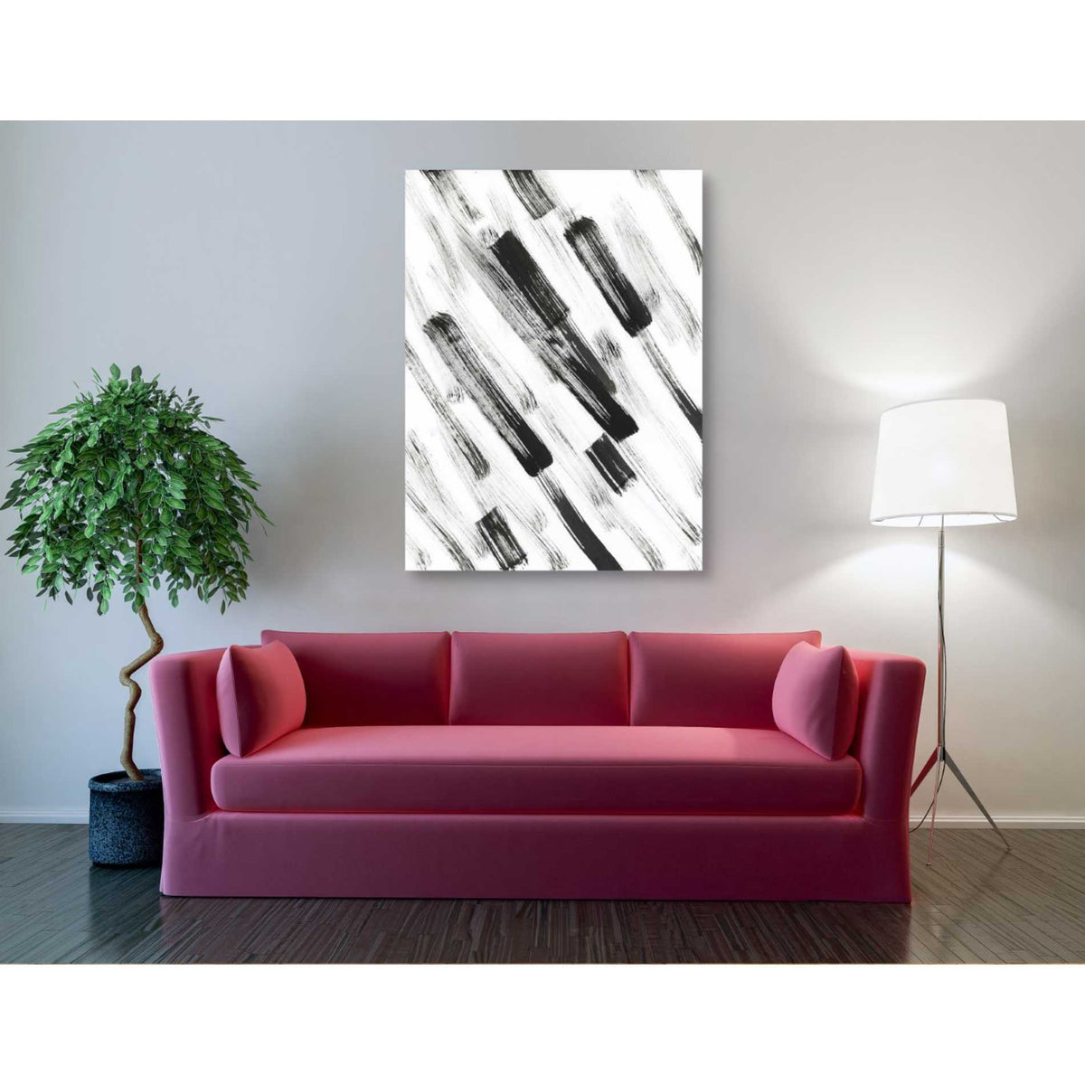 Epic Graffiti 'Black and White Strokes North East' Giclee Canvas Wall Art