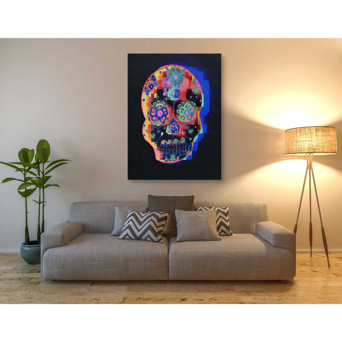 Epic Graffiti 'Colorful Skull' by Irena Orlov, Giclee Canvas Wall Art