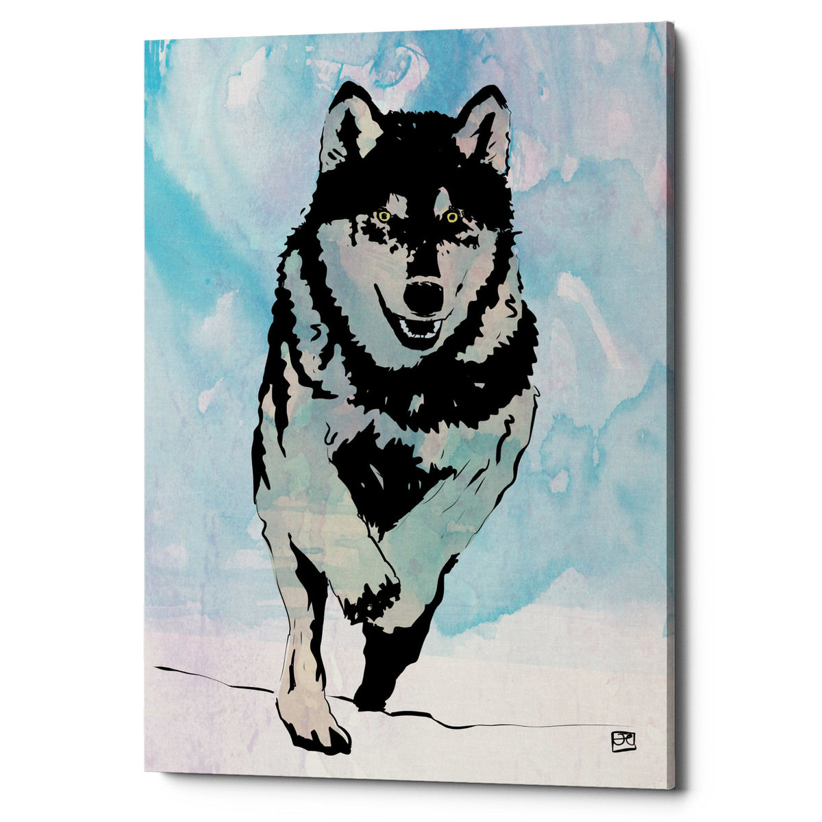 "Epic Graffiti ""Wolf 2"" by Giuseppe Cristiano, Giclee Canvas Wall Art, 40""x60"""