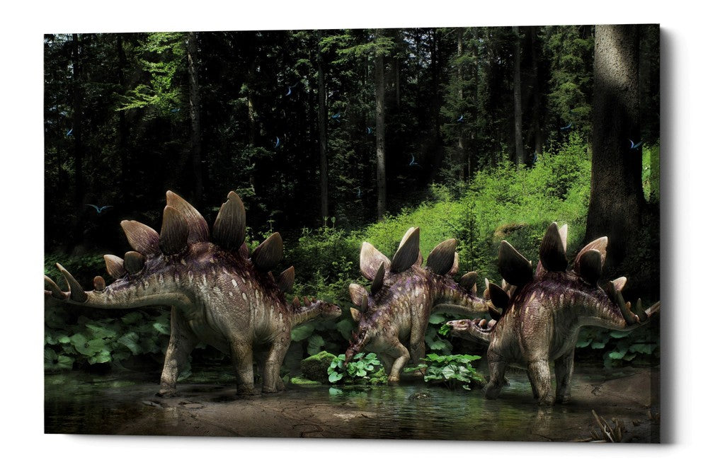 "Epic Graffiti ""Stegosaurus Family"" Giclee Canvas Wall Art"