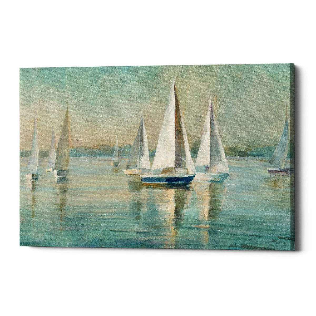 "Epic Graffiti ""Sailboats At Sunrise"" by Danhui Nai, Giclee Canvas Wall Art"