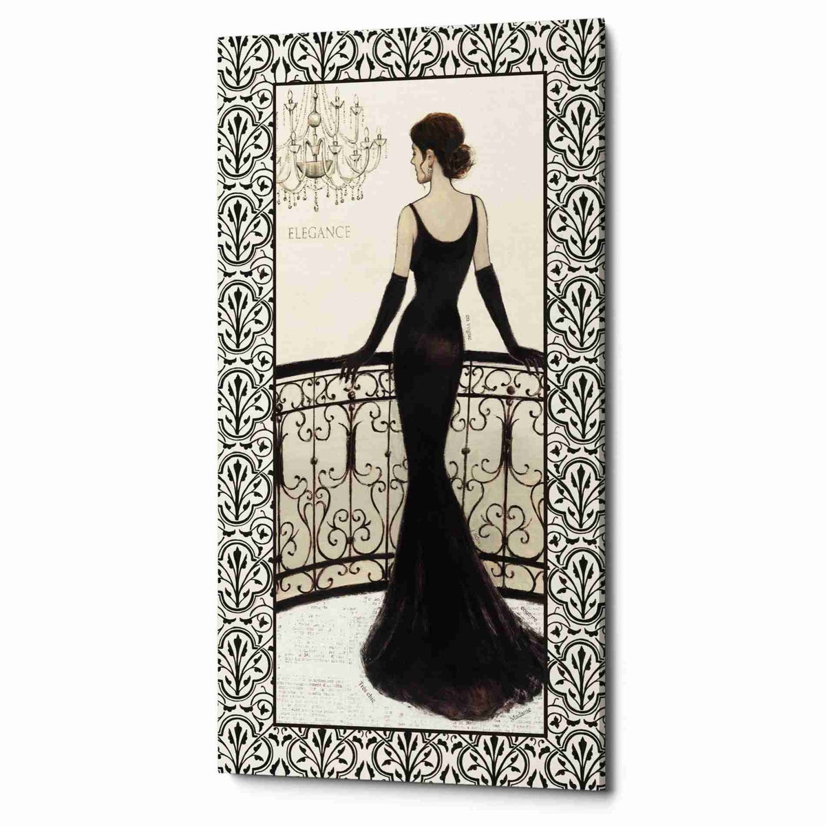 Epic Graffiti 'La Belle Noir with Floral Cartouche Border  4' by Emily Adams, Giclee Canvas Wall Art