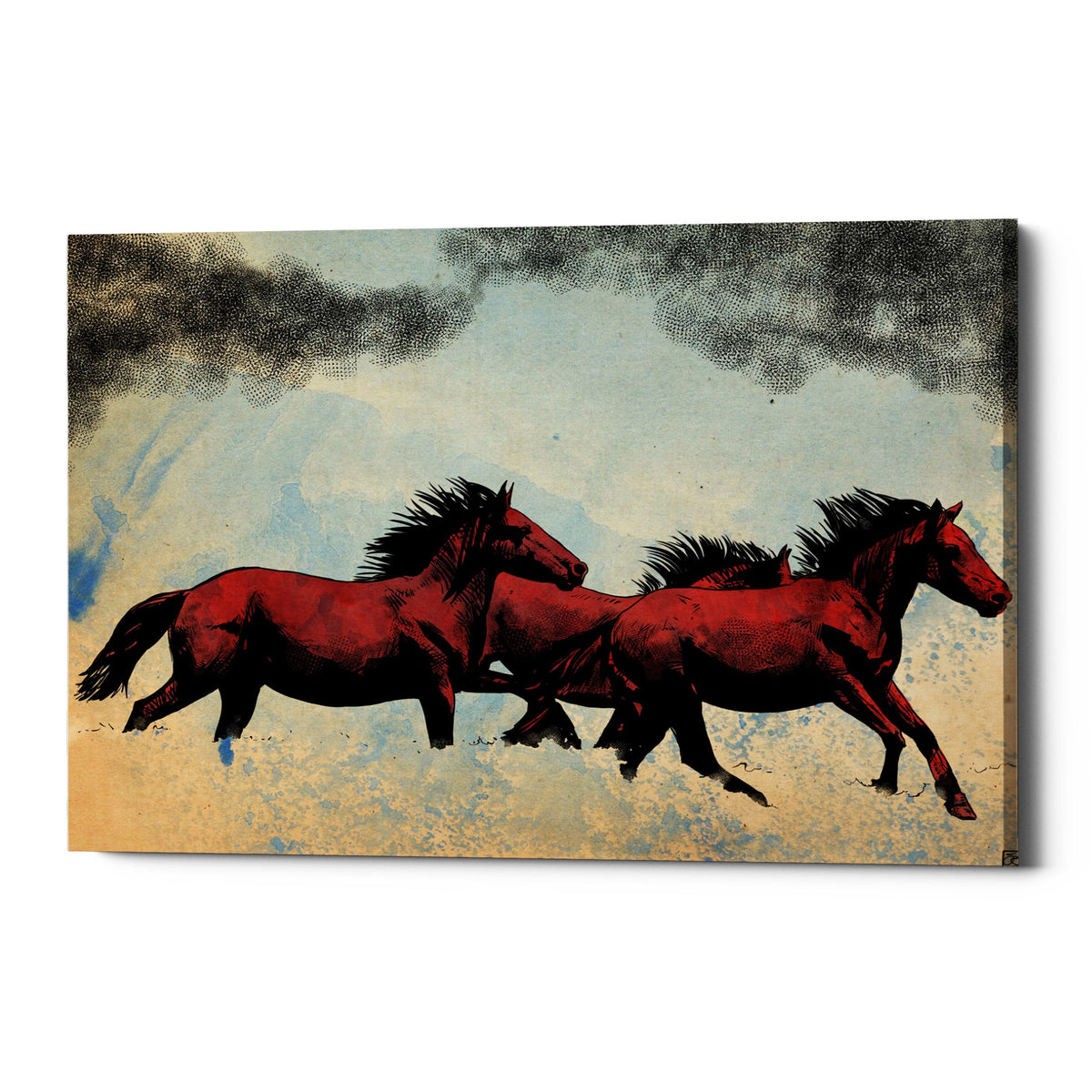 "Epic Graffiti ""Horses"" by Giuseppe Cristiano, Giclee Canvas Wall Art"