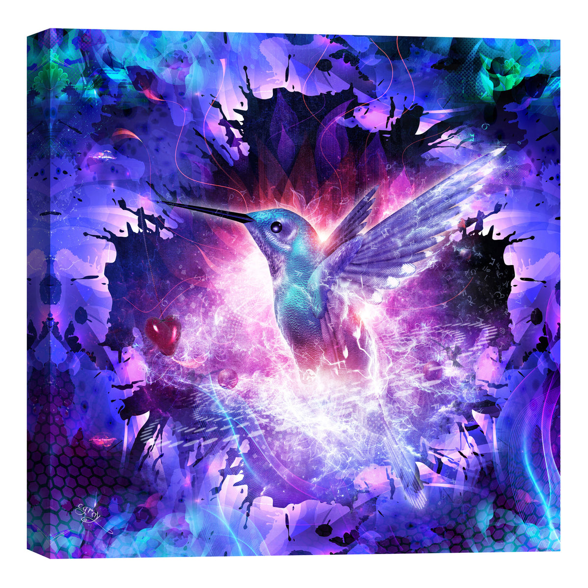 "Epic Graffiti ""Hummingbird Love"" by Cameron Gray, Giclee Canvas Wall Art"