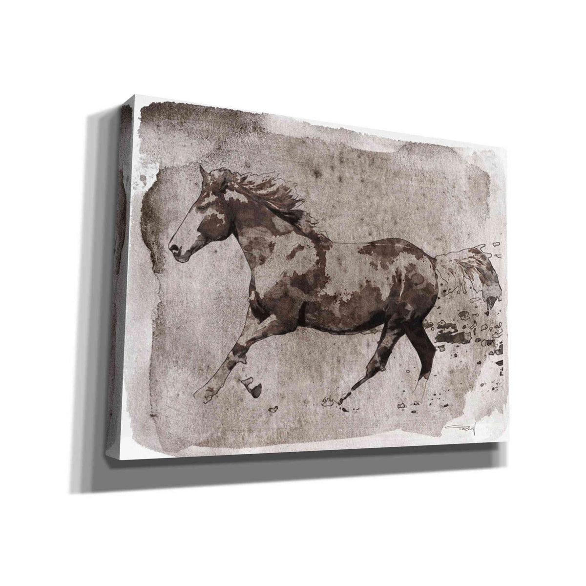 Epic Graffiti 'Brown Horse Running' by Irena Orlov, Giclee Canvas Wall Art