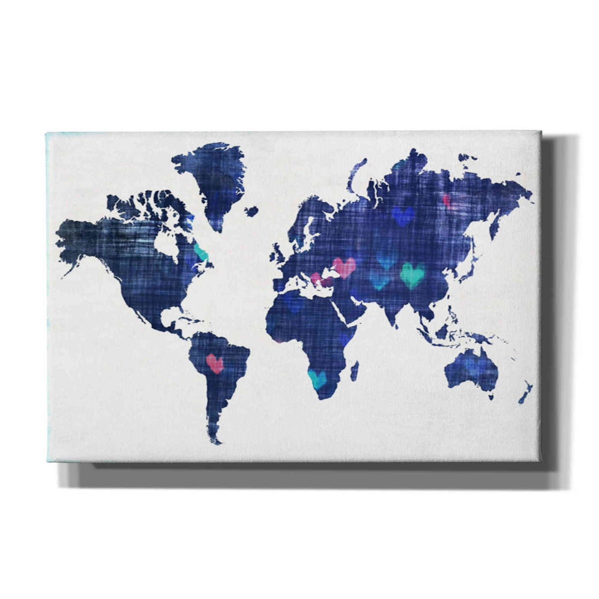 Epic Graffiti 'Hearts World Map 3' by Irena Orlov, Giclee Canvas Wall Art