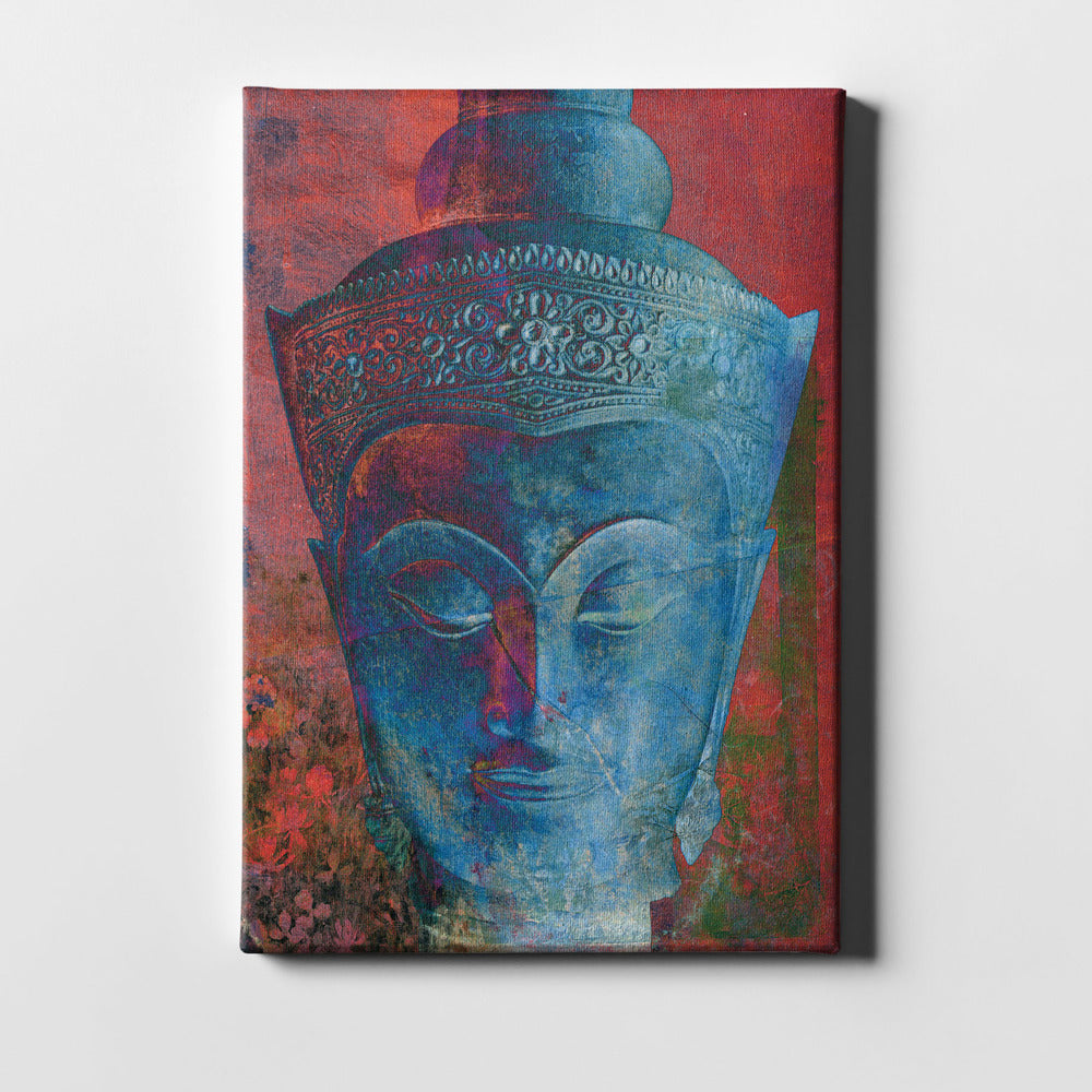 "Epic Graffiti ""Blue Buddha Head"" by Elena Ray Giclee Canvas Wall Art"