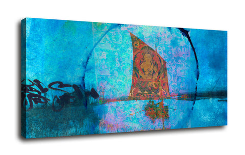 "Epic Graffiti ""Buddhist Sailboat"" by Elena Ray Giclee Canvas Wall Art"