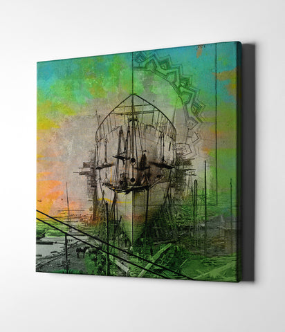 "Epic Graffiti ""Ship Builders"" by Elena Ray Giclee Canvas Wall Art"