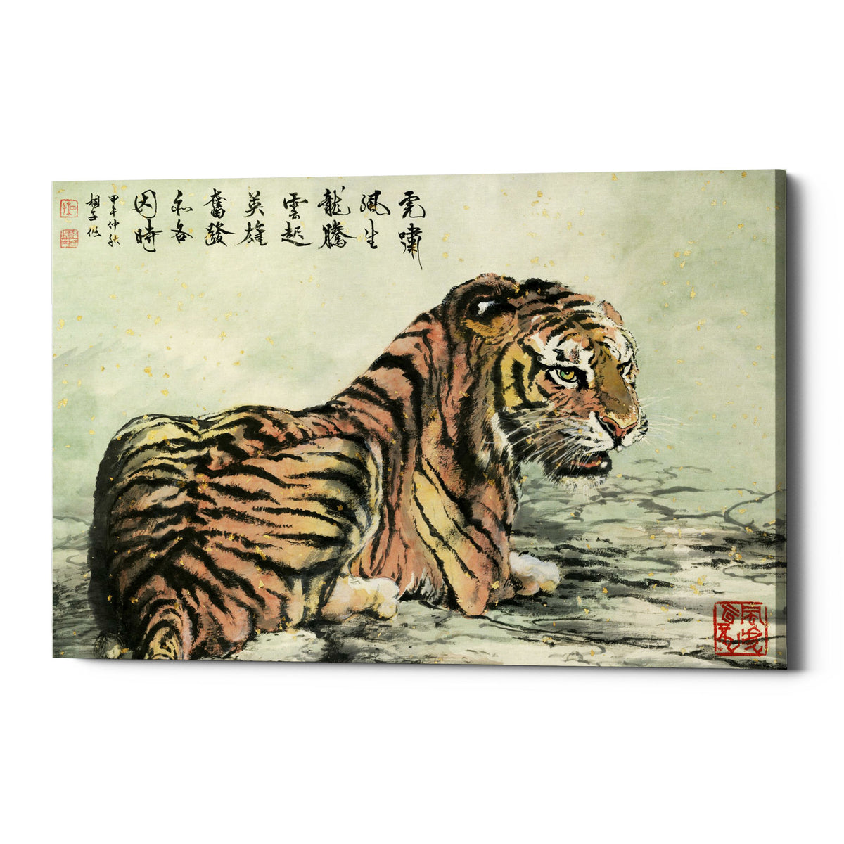 "Epic Graffiti ""Tiger Relaxing"" by River Han, Giclee Canvas Wall Art"
