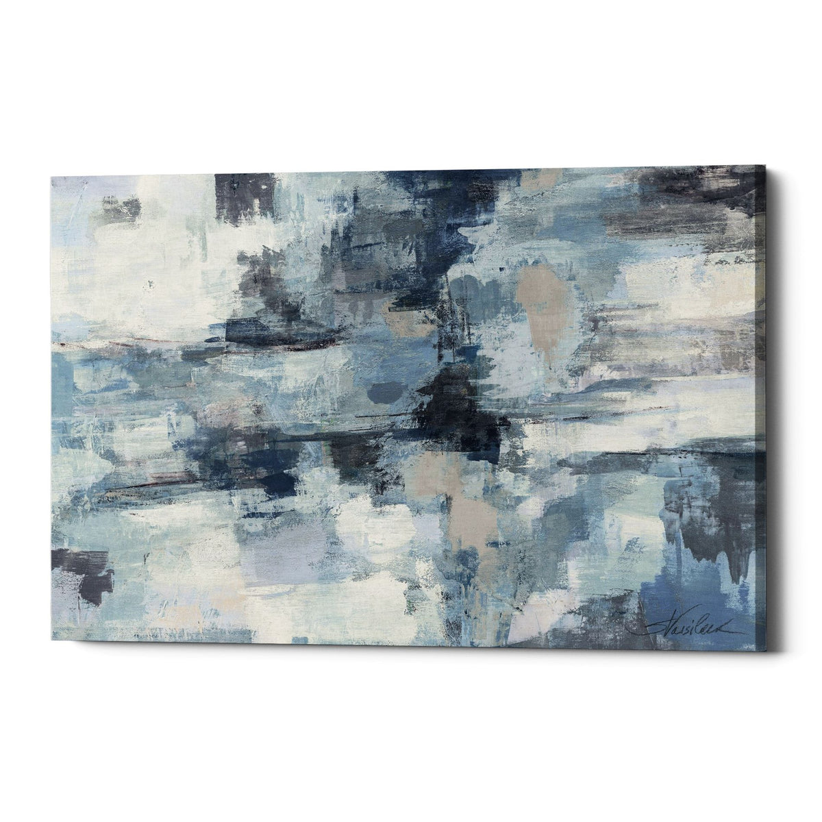 "Epic Graffiti ""In The Clouds Indigo and Grey"" by Silvia Vassileva, Giclee Canvas Wall Art"
