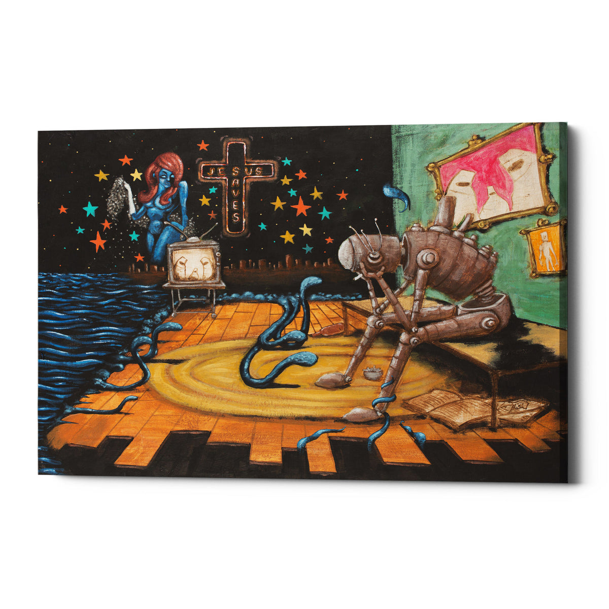 "Epic Graffiti ""Jesus Saves"" by Craig Snodgrass, Giclee Canvas Wall Art"