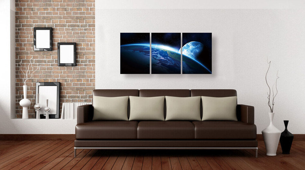 "Epic Graffiti Earth's Horizon 3 Piece Acrylic Wall Art, 42"" x 20"""