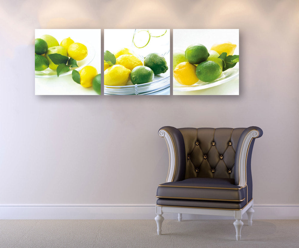 "Epic Graffiti 3 piece ""Citrus"" Acrylic Wall Art, 60"" x 20"""