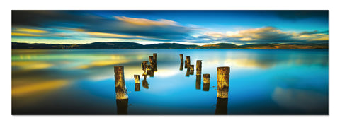 "Image of Epic Graffiti ""Missing Dock"" in a High Gloss Acrylic Wall Art, 60"" x 20"""
