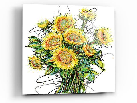 "Image of Epic Graffiti ""Whimsy Sunflowers"" Acrylic Wall Art, 24"" x 24"""