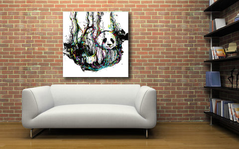 "Image of Epic Graffiti ""Ecstasy Panda "" in a High Gloss Acrylic Wall Art, 32"" x 32"""