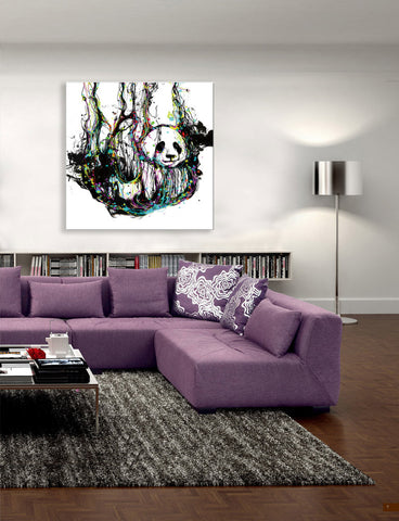 "Epic Graffiti ""Ecstasy Panda "" in a High Gloss Acrylic Wall Art, 32"" x 32"""