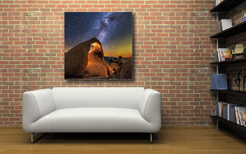 "Image of Epic Graffiti ""Starry Night in the Dessert"" on a High Gloss Acrylic Wall Art, 32"" x 32"""
