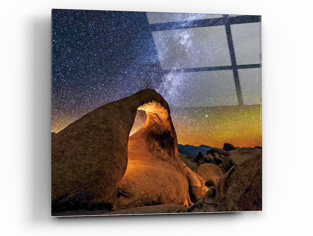"Epic Graffiti ""Starry Night in the Dessert"" on a High Gloss Acrylic Wall Art, 32"" x 32"""