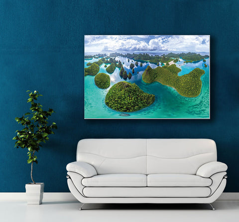 "Image of Epic Graffiti ""Four Kings Archipelago"" High Gloss Acrylic Wall Art, 48"" x 32"""