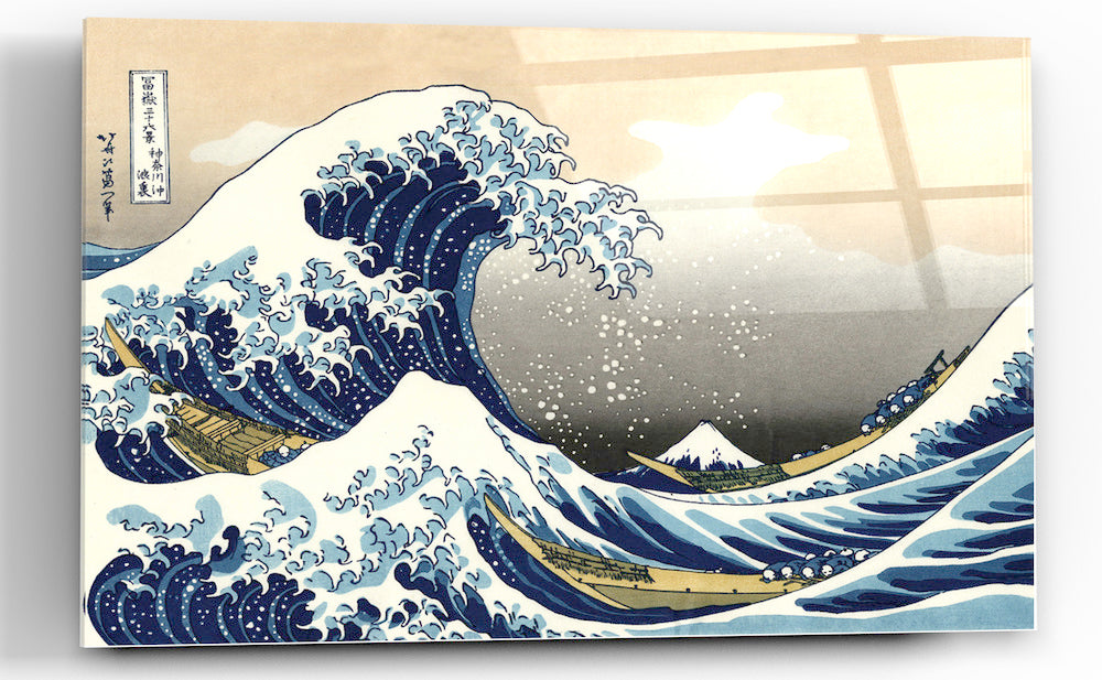 "Epic Graffiti ""Great Wave off Kanagawa"" by Hokusai Glossy Acrylic Wall Art, 48"" x 32"""
